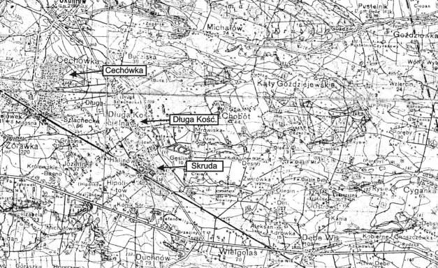Prawdziwe miejsce śmierci i nabożeństwa pogrzebowego generała v. Fritsch. Na wojskowej mapie polowej WP wpisano nazwy: Cechówka, Długa Kościelna, Skruda.